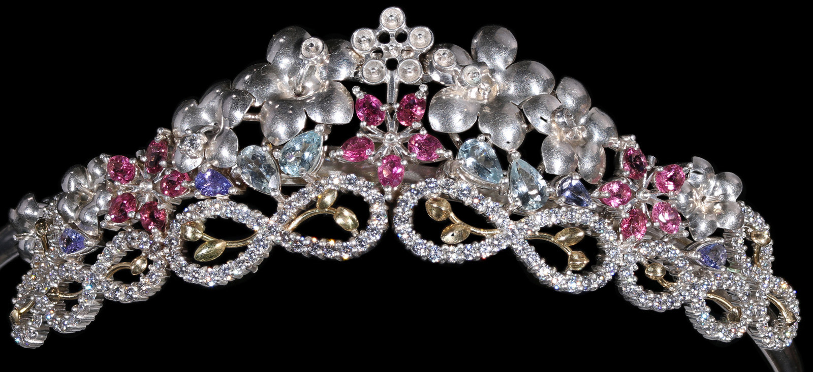 Princess Maya side tiara in Ruby, Tanzanite, Aquamarine with Diamond in hallmarked 18ct Gold and Silver